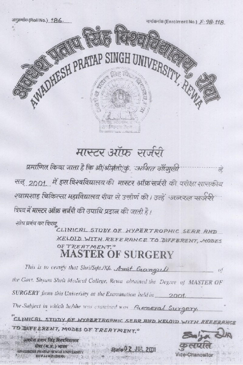Dr. Amit Ganguly's various degrees and awards